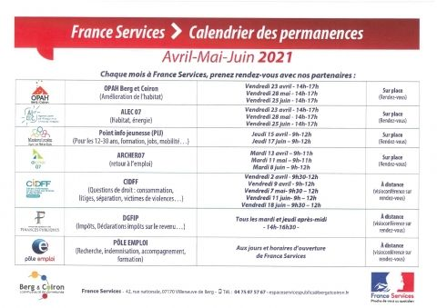 FRANCE SERVICES: CALENDRIER DES PERMANENCES